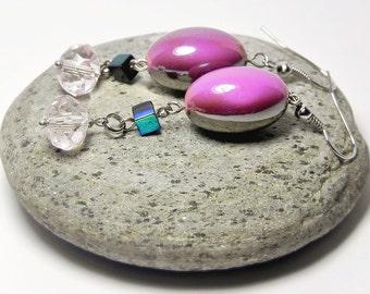 Dangle Earrings Drop Earrings Pink Earrings Long Beaded Earrings Beadwork Simple Dainty Multicolor Gift for her Handmade Fashion Jewelry