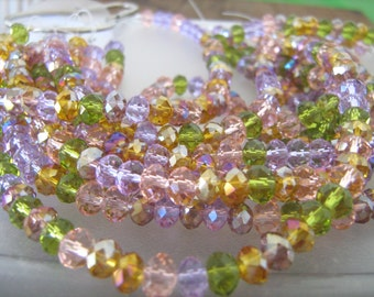 Faceted crystal rondelle beads Perennial flower light summer colors  8 inch strand//spring jewelry//beading gifts//fashion beads