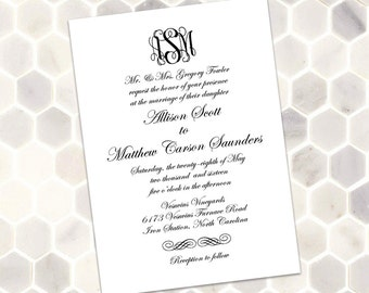 Classic Monogram Wedding Invitation - Printable Black and White Classic and Traditional Custom Monogram Invitation with Formal Script