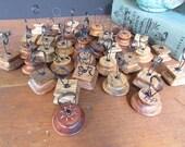 5 Place Card Holders Vintage Name Card Holder Wooden Knobs Vintage Wedding Boho Style Set of 5