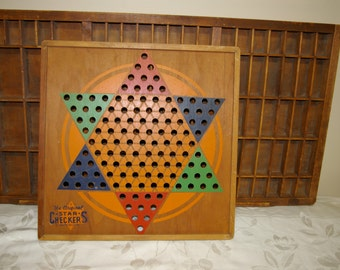 Star Checkers Wood Game Board...Chinese Checkers.. Game Board Display
