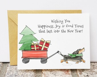 SALE - Limited time 20% off - Christmas Dachshund Card