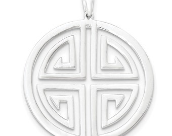 Sterling Silver Polished Circle w/Design Pendant
