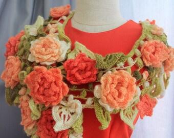 Crochet Flower Shawl, Bohemian Chic Shawl, Crochet Jewelry, Long Woman Shawl, Orange Flower Scarf, Crocheted Floral Scarf, Flower Shawl