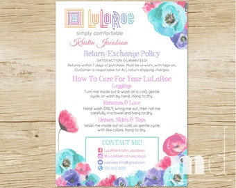 LuLaRoe Custom Care Cards, LuLaRoe Customer Care Card Postcard Washing & Care Instructions Returns Exchanges, Home Office Approved PRINTABLE