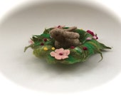 Easter Bunny in a nest . Wet Felted.Waldorf.Felted flowers.