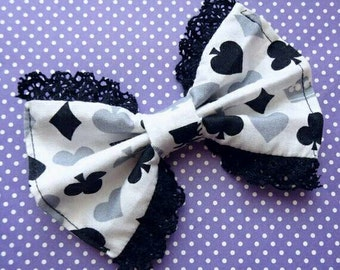 Alice in Wonderland Hair Bow -Gothic Lolita- Lolita Bow- Lace Bow