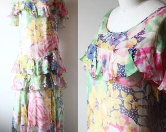 1920s floral tiered silk chiffon dress // 1920s flapper dress  // vintage dress