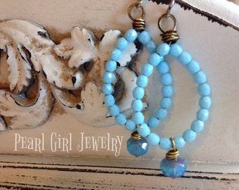 Beach Style Summer Breeze Turquoise/Ocean Blue Bohemian Hoop Earrings by Lori Pearl