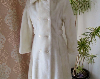 Rare Vintage Girls Cream Faux Fur Weather Tamer Winter Double Breasted Princess Coat size 14