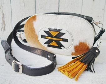 Cowhide Crossbody Bag, Navajo bag, Aztec Native American Indian Shoulder Bag
