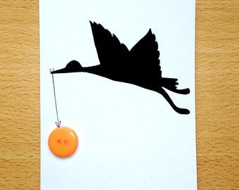 Stork Button Silhouette Card