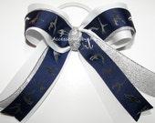 Gymnastics Bow Ponytail Holder Navy Blue White Silver Metallic Ribbons Girls Kids Accessories Dance Lyrical School Gym Bulk Discount Lot
