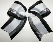 Big Cheer Bow Black White Silver Glitter Ribbon Girls Children Teen Accessory Cheerleader Spirit Team All Stars Discount Deal Wholesale Lot
