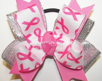 Breast Cancer Bow, Pink Awareness Pigtail, Cheer Bows, Ponytail Holder Hair Ribbon, Pink Cheerbows, School Football Volleyball Softball Game