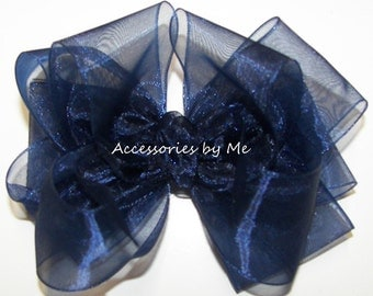 Organza Hair Bow, 4 Inch Clip, Navy Blue Chiffon Ribbon Bow, Girls Baby Toddler Solid Color Clips, Wedding Pageant Birthday Party Dance Bows