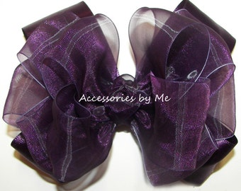 Fancy Plum Hair Bow, Purple Hairbow, Chiffon Bow Clip, Wine Grape Purple Hair Piece, Flower Girl Toddler Alligator or Barrette, Pageant Bows