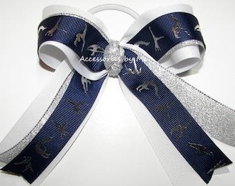 Gymnastics Bow, Gymnastic Ribbon Clip, Navy Blue White Silver Gymnastic Ponytail Holder, Gymnast Hair Bow, Dance Lyrical Bow, Bulk Team Bows