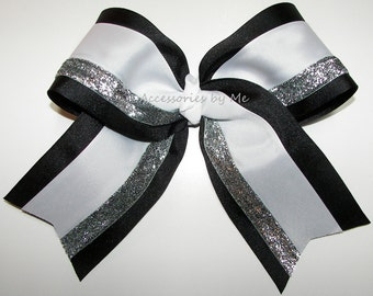 Bulk Price, Big Cheer Bow, Black White Silver Glitter Ribbon Cheerbow, Cheerleader Hairbow, Uniform Accessories, Team Bows, Softball Bows