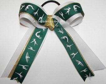 Gymnastics Bow, Green Gold Gymnast Bow, Green Gold Sparkly Gymnastic Ribbons, Dance Lyrical Green Gold Bow, Gym Team Wholesale Bulk Lot Bows