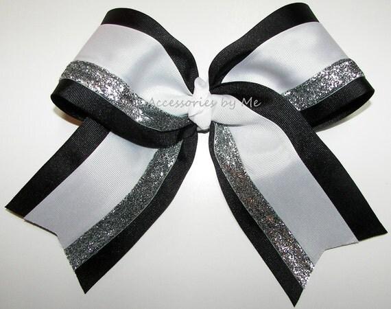 Bulk Price Big Cheer Bow Black White Silver Glitter Ribbon  Bulk Price Big ...