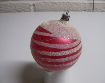 Vintage Red Mica Glitter Striped Swirls Whimsical Christmas Tree  Bulb Ornament Germany