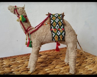 "Camel - 10 "", Primitive camel, stuffed camel, straw camel toy, primitive art, handmade camel, plush camel toy, camel souvenir, OOAK camel"