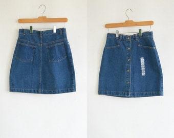 90's Short Denim Snap Skirt Front Back Pockets New with Tag Short Jean Skirt A Line Simple Denim Skirt