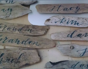 Driftwood Place Cards Hand-Lettered by Tangerine Calligraphy