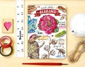 Alabama notebook, journal, state, pride, blank, the South, state symbols, illustration.