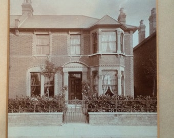 Antique / Vintage Photography / Print of an end of Terrace House in Sepia