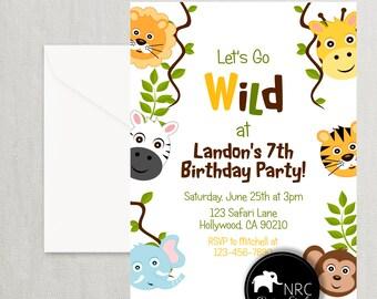 Jungle Invitation, Safari Invitation, Jungle Party, Safari Party, Printable Invitation | NRCDesignStudio