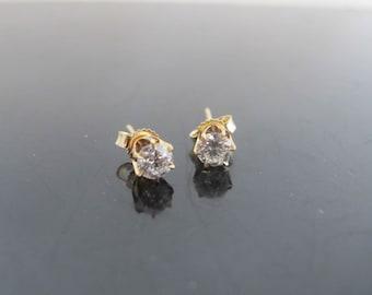 Classic 14k Yellow Gold .375ct Diamond Post Earrings