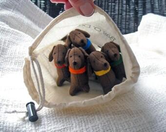 Dachshund Plush, Dachshund Art, Ornament, Felt, Stuffed Dachshund, Dog Lover, Gift for Her,Set of 5 Handmade Dachshunds - Bag O Doxies