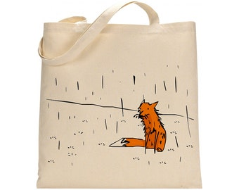 Hand painted shopping bag, artsy tote, gift for her, canvas bag, cotton tote, hand drawn fox