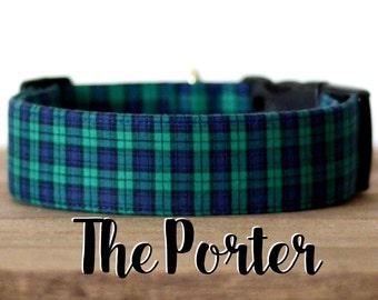 "Dapper Navy & Green Plaid Dog Collar ""The Porter"""
