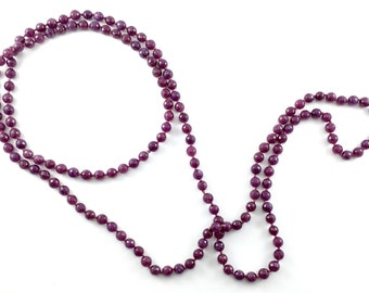 Double Wrap, Hand-knotted Necklace - Purple