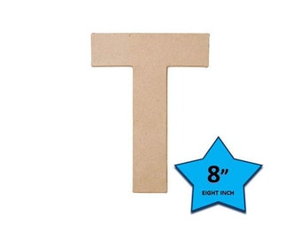 Paper Mache Cardboard Letters 8 Inch - Letter T - Paper Craft Party Decor Supplies