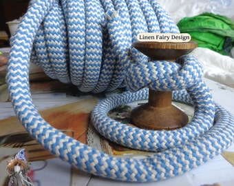 """3 meters Cotton Rope 10 mm / 0,39"""" Blue and Raw Cotton Cord With Filling for Crafts Jewellery Decorations Organic Cord"""