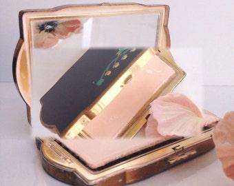 Vintage Compact Mirror Van Ace Powder Compact Black enamel floral  Womens Accessories Powder Puff Bags and Purses  Vanity  Cosmetics Storage