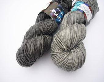 Hand dyed yarn Debbie bliss rialto DK- 100% Superwash Merino - charcoal