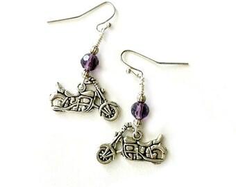 Purple Motorcycle earrings dangling earrings with crystal Handmade Gift