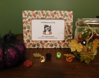 Handmade Fall themed 4 by 6 inch picture frame