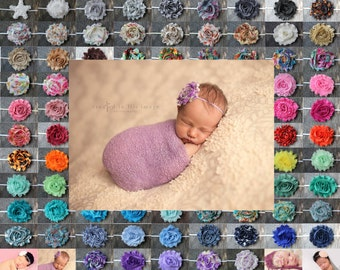 Shabby Flower Headband, Choose from 95 colors, photo prop, Newborn, toddler, adult