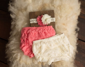 Set: Headband and bloomer, Couture, Diaper Cover, newborn photography prop, Valentines Day