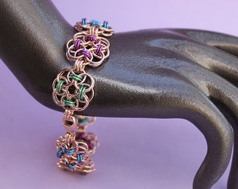 Rose Gold and Niobium Chainmaille Helm Flower Bracelet