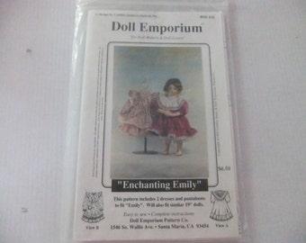 "ENCHANTING EMILY Doll Emporium Pattern by Cyntha James/ 19"" Doll Dress Pattern"
