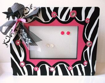 Stud Earring Holder, Wall Jewelry Organizer, Earring Tree, Girls Earring Holder, Jewelry Rack, Pink Zebra Decor, College Dorm Decorations