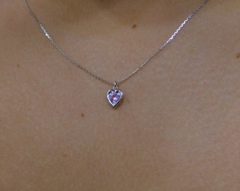 Pink Sapphire Heart Necklace 14k White Gold/ White Gold 14k Pink Sapphire Heart Necklace 0.12ct/ Mini Heart Necklace/ Minimalist Heart