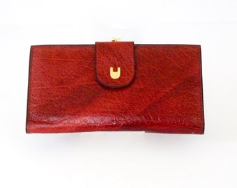 Ladies Wallet Cranberry Red Leather Clutch Wallet